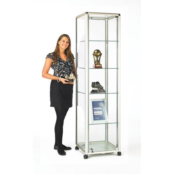 Tower Showcase with Lockable Hinged Door