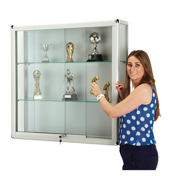 Wall Glass Showcase with Lockable Sliding Doors