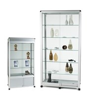 Wide Tower Showcase With Sliding Lockable Doors